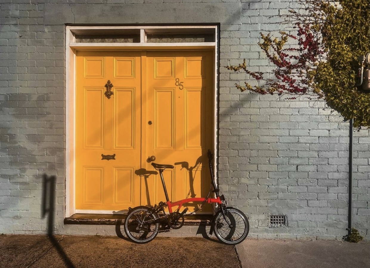 bike against a door